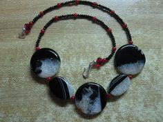 Necklace: drusy agate, black spinel, coral, sterling silver by las81101 on Etsy