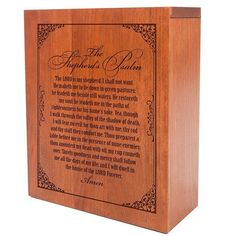 Cremation Urn with the Shepherd's Psalm Engraving Hand Finished in Cherry wood By Dayspring Premier
