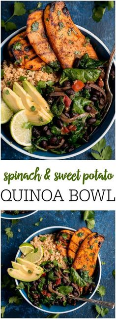 Sub Quinoa with barley.some ppl dont care for quinoa Spinach and Sweet Potato Quinoa Bowls are a flavor packed meatless meal that comes together quickly for a healthy weeknight meal. Veggie Recipes, Whole Food Recipes, Vegetarian Recipes, Healthy Recipes, Fish Recipes, Cookie Recipes, Cheap Recipes, Indian Recipes, Sauce Recipes