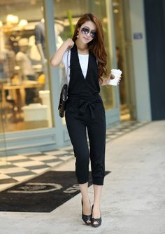 2013 Womens cotton fashion Korean style black jumpsuit wholesale and resale women rompers JP-020 $10.49