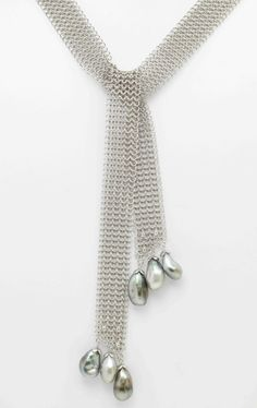 Deleuse Fine Jewelry & Couture - Assael Designer Mesh Tahitian Pearl Necklace, SOLD