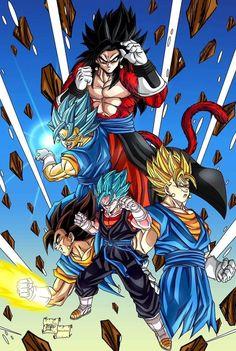 Dragon Ball all Goku & Vegita fusions Dragon Ball Z, Dragon Ball Image, Goku Y Vegeta, Son Goku, Dragonball Art, T Shirt Manga, Hero Fighter, Wallpaper World, Comics Anime