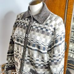 Wool Cardigan Susan Bristol Shades Brown Gray Cream Winter Sweater Woman by StarfishCollectibles on Etsy Winter Sweaters, Wool Sweaters, Vintage Outfits, Vintage Clothing, Wool Cardigan, Bristol, Brown And Grey, Going Out, Men Sweater