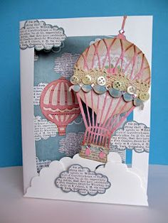 Vintage Balloon Card - Xcut Build-A-Scene Dies and Papermania Vintage Notes