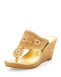 Napa+Valley+Cork+Thong+Wedge,+Natural/Gold+by+Jack+Rogers+at+Neiman+Marcus.