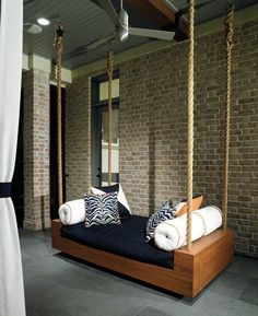 rope instead of chain on the porch swing | FLOORS for the veranda