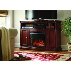 Home Decorators Collection Montero 56 in. Media Console Infrared Electric Fireplace in Mahogany (Brown)