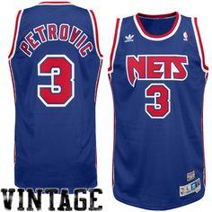 6f18ab963 Mens New Jersey Nets Drazen Petrovic adidas Royal Blue Hardwood Classics  Soul Swingman Throwback Jersey -