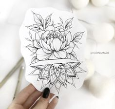 200 Pictures of Female Arm Tattoos for Inspiration - Photos and Tattoos - Flower Tattoo Designs - Free Perfectly rests on the forearm. Mandala Tattoo Design, Dotwork Tattoo Mandala, Floral Tattoo Design, Flower Tattoo Designs, Flower Tattoos, Nature Tattoos, Body Art Tattoos, Tattoo Drawings, Small Tattoos