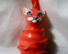 TABBY CAT IN FLOWER BLOSSOM polymer clay art doll OOAK Ornament red pink unique