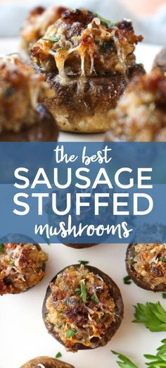 Apr 2019 - The Best Sausage Stuffed Mushrooms are cheesy and tender on the inside and have a golden crust on the outside. This recipe is a classic that you will want to make again and again! Keto Foods, Keto Recipes, Cooking Recipes, Sausage Recipes, Burger Recipes, Mushroom Appetizers, Yummy Appetizers, Sausage Appetizers, Best Party Appetizers