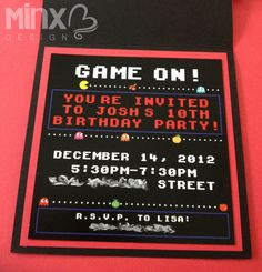 Retro Gamer Card (PacMan style) - I used custom graphics and a font reminiscent to an old arcade-style video game for this custom birthday invitation.