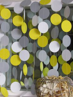 Yellow Gray and White Paper Garland Yellow and Grey by LucyBirdy Yellow Gray Room, Yellow Grey Weddings, Whale Birthday, Ducky Baby Showers, Baby Shower Garland, Grey Baby Shower, White Paper, Sweet 16, Grey And White