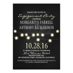 Romantic string lights chalkboard engagement party 5x7 paper invitation card