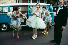 The Dessy Group - The spot for all things bridesmaid. - If you love uniquely styled weddings this one is for you! This bride wore a tutu inspired dress, and her bridesmaids wore floral with brightly colored shoes. Rockabilly Wedding Dresses, Elegant Bridesmaid Dresses, Wedding Strawberries, Nice Dresses, Flower Girl Dresses, Real Weddings, Summer Weddings, Formal Wear, Perfect Wedding