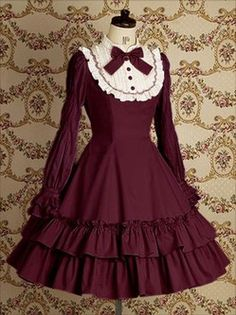 Manches longues bleu dentelle coton Lolita Robe Lolita vêtements rouge