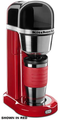 The KitchenAid Personal Coffee Maker offers exceptional performance with optimized brew process for superior coffee extraction. Removable top load water tank with intergrated handle. One-Touch Brewing. This coffee maker has a small and tall design to fit any space (showerhead design). Complete with a multifunctional insulated mug, easy-access brew basket and gold-tone filter. Espresso. http://www.katom.com/449-KCM0402ER.html