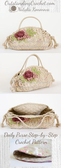 Doily Purse Step-by-Step Crochet Pattern at www.OutstandingCrochet.com