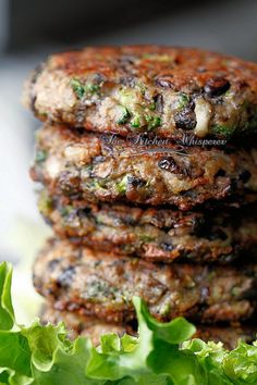Chunky Portabella Veggie Burgers from The Kitchen Whisperer~