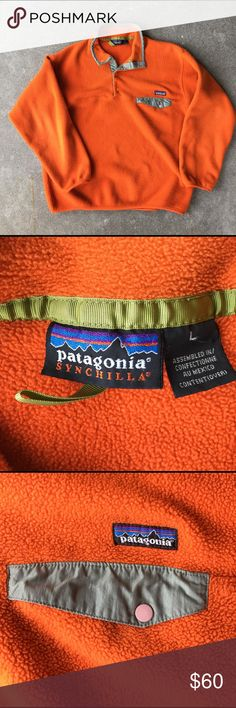 Patagonia Synchilla® Snap-T This quintessential Patagonia Snap T® pullover in orange fleece with green trim, is crafted from double-faced fleece and topped with a wind-resistant stand collar for an outerwear style with exceptional insulation. Elasticized trim with tonal piping trims the cuffs and hem for a stretchy finish. The cuffs have some pilling from wear, but there are no stains, rips or tears. Men's large/women's XL. No trades Patagonia Jackets & Coats Ski & Snowboard