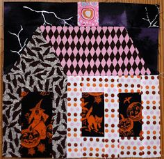 Quilt Inspiration: Free Pattern Day: Halloween Halloween Quilt Patterns, Halloween Sewing Projects, Fun Halloween Crafts, Halloween Quilts, Halloween Fabric, Diy Halloween Decorations, Fall Decorations, Halloween Ideas, Happy Halloween