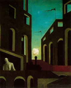 Giorgio De Chirico, 1914 http://www.wikipaintings.org/en/giorgio-de-chirico/gare-montparnasse-the-melancholy-of-departure-1914#supersized-artistPaintings-194462
