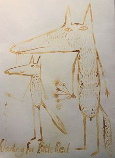 Milk drawing, Waiting for Little Red . . . by Hazel Terry, via Flickr
