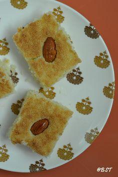 Basboosa | Middle Eastern Semolina Cake Halal Desserts, Halal Recipes, Delicious Desserts, Arabic Sweets, Indian Sweets, Ramadan Recipes, Ramadan Food, Semolina Cake, Alcohol Recipes