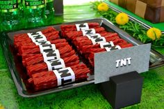 Minecraft party decor TNT wraps