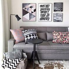 """""""Onde não puderes amar não te demores..."""" + uma paleta linda e moderninha {rosa, preto e cinza}  {Pic via @decorechic, com projeto by Carol Miluzzo}"""