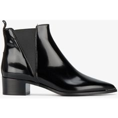 Acne Studios Black Jensen 40 Leather Ankle Boots (2.190 RON) ❤ liked on Polyvore featuring shoes, boots, ankle booties, black, short boots, leather bootie, black bootie boots, black boots and black ankle booties