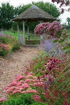 "Lady Farm, Somerset. Designed by Judy Pearce, Perennial border: Perovskia 'Blue Spire', Echinacea 'Rubinstern', Sedum ""Autumn Joy"", Eupatorium (aster) maculata atropurpureum (?)"