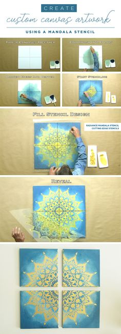 Cutting Edge Stencils shares how to stencil custom DIY artwork using the Radiance Mandala Stencil. http://www.cuttingedgestencils.com/radiance-mandala-stencil-yoga-mandala-stencils-decal.html (Diy Canvas Artwork)