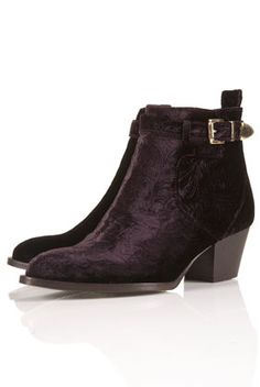 velvet ankle boots from topshop... LOVE!