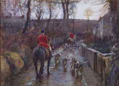 """""""End of the Day"""", Western Foxhounds at Madron, Cornwall"""