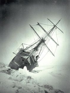 "Ernest Shackleton's ship caught in the Antarctic ice ...Raymond Priestley said, ""Scott for scientific method, Amundsen for speed and efficiency but when disaster strikes and all hope is gone, get down on your knees and pray for Shackleton."""