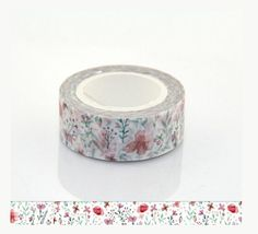 10M Red Flowers Washi Tape  Decorative Tape  Paper por WILDSOUL19