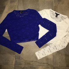 Laced Crop Tops! Same style, laced all over! Long sleeved and super cute! The front has double material so it can be worn without a bra!!! The back is see through but elegant. Brand new! Both are medium but fit a small too! Price is for both as a bundle, if you want just one let me know, I will change the price  Forever 21 Tops Crop Tops