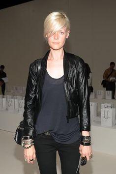 Simple, I love it: jeans, tee & leather jacket kate lanphear