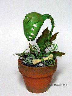 OOAK Sleeping Man Eating Monster Plant for a Haunted Dollhouse Groghor by Amber Matthies