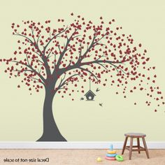 Large Tree wall decal with birdhouse