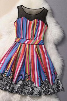 Striped Silk Gauze Sexy Dress