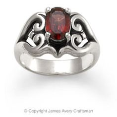 Scrolled Heart Ring with Garnet from James Avery