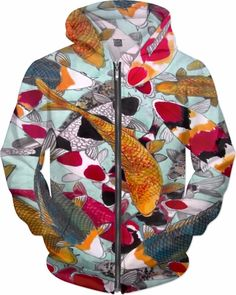 Koi Crowd Trance Custom Fantasy Style Zip Hoodie by Willy Badu.