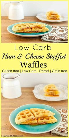 Low Carb Ham & Cheese Stuffed Waffles, grain free, low carb and primal