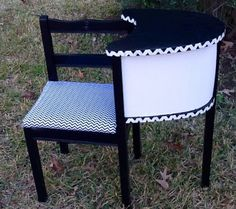 Upcycled hand painted Vintage Telephone Table Chevron print $80 SOLD