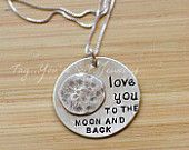 Love You To the Moon and Back Hand Stamped by TagYoureItJewelry
