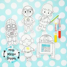 Galaxy Wars Coloring Dolls Set Redwork ITH Embroidery design