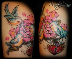 birds and rose tattoo. Candy Cane