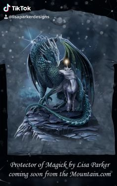 Protector of magick T-shirt by Lisa Parker available right now : Selling out really fast some sizes already gone! Beautiful Fantasy Art, Beautiful Fairies, Dark Fantasy Art, Cute Fantasy Creatures, Mythical Creatures Art, Creature Drawings, Animal Drawings, Dragon Wallpaper Iphone, Dragon Artwork